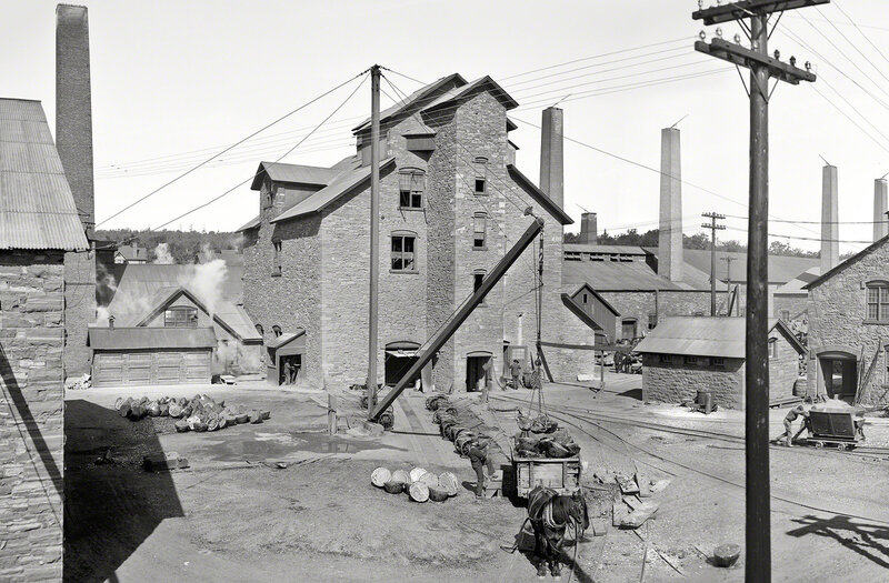 Circa 1905. 'Calumet and Hecla smelters, Lake Linden, Michigan.'