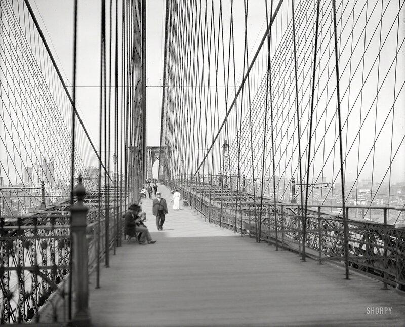 New York circa 1907. Manhattan from the Brooklyn Bridge