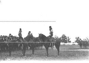 Командир полка генерал-майор свиты великий князь Дмитрий Константинович ( справа) и старшие офицеры на параде в честь 250-летия Конно-гренадерского полка  .
