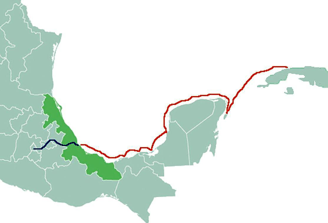 Общая схема похода Кортеса 1519 года. Морская часть выделена красным..jpg