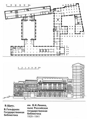 Библиотека им. В. И. Ленина (Российская государственная библиотека), план, фасад