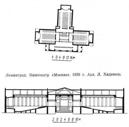 Кинотеатр Москва в Санкт-Петербурге, чертежи