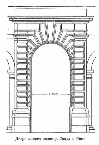 Дворец Спада в Риме, чертеж двери