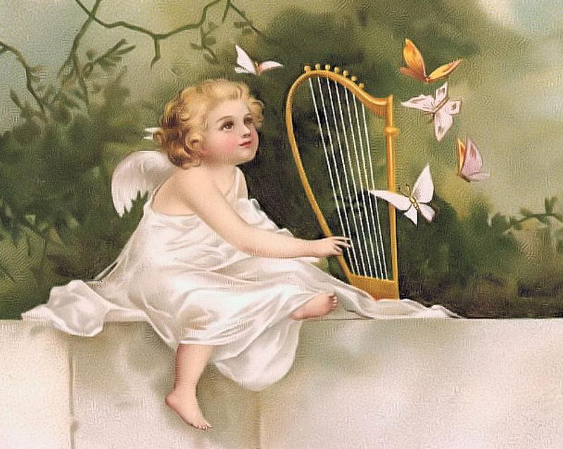 Днем рождения, ангел ретро открытка