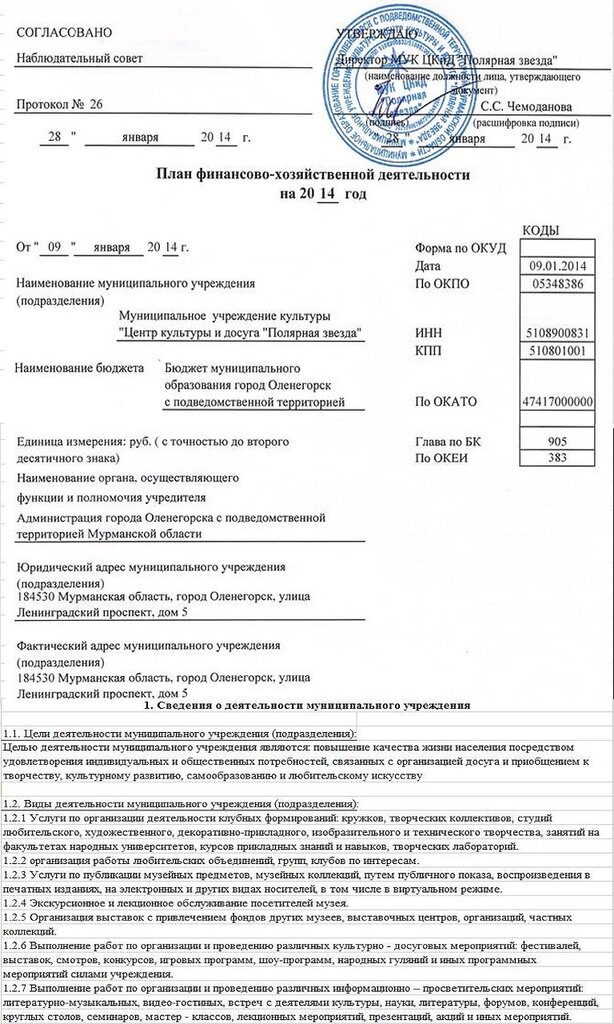 План ФХД на 2014 от 01.01.2014