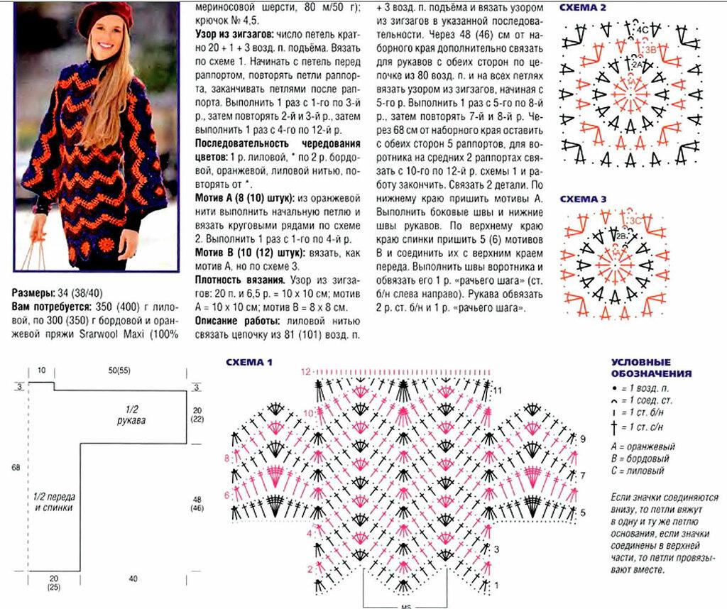 Женский пуловер крючком схемы и описание