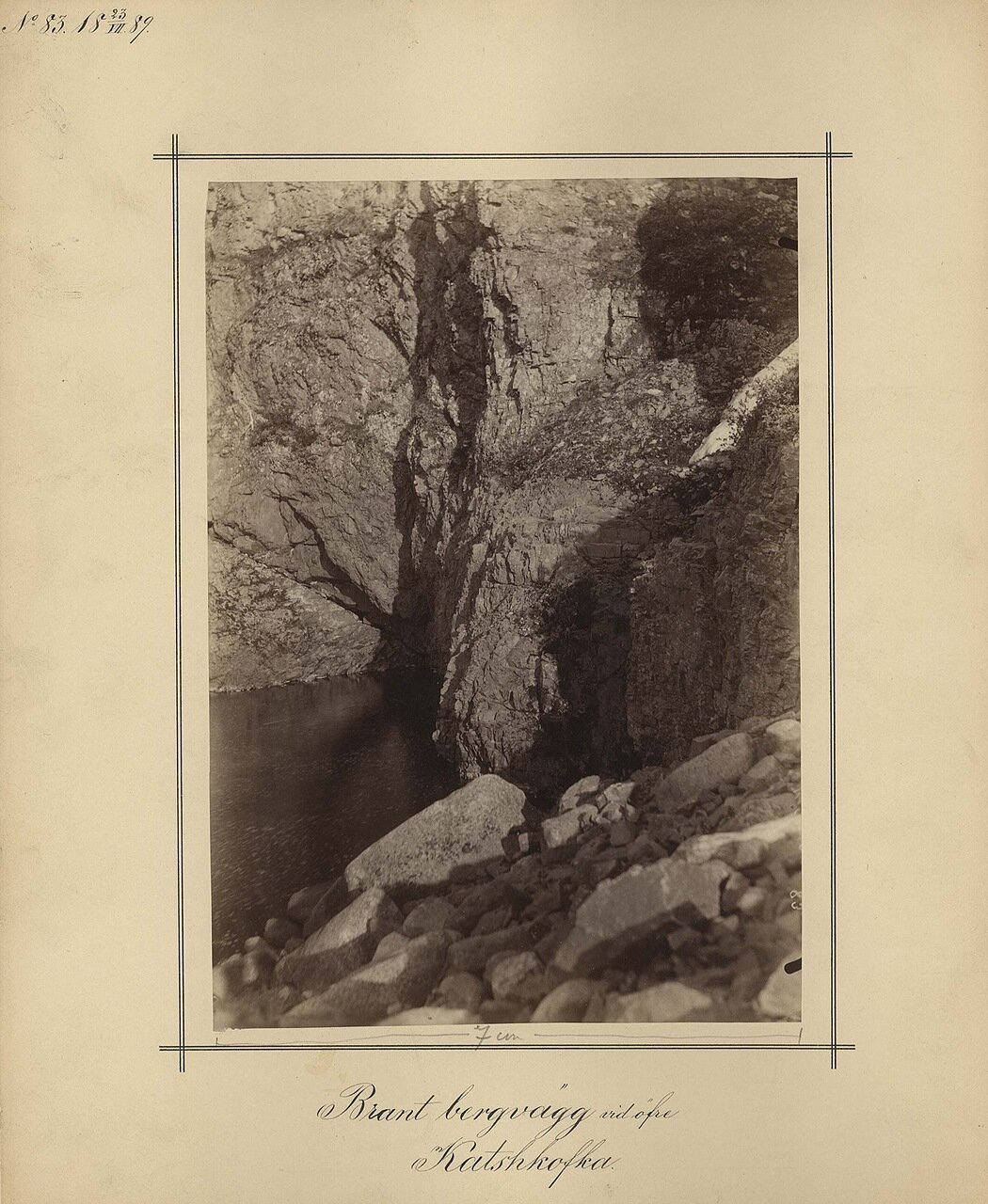 23.7.1889. Крутая скала на реке Кофта