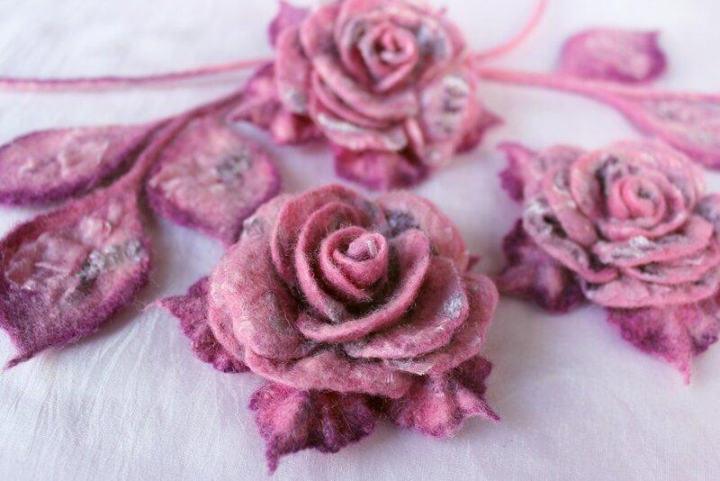 Валяние розы из шерсти мокрое валяние