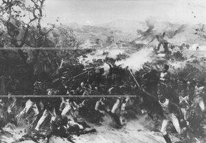 Засада лейб-егерей  при Эйлер-Мюлле, в бою под Кульмом  - картина подарена полку полковником  Риттих Л.А.
