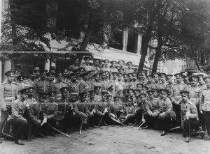 Группа офицеров полка с императором Николаем II.