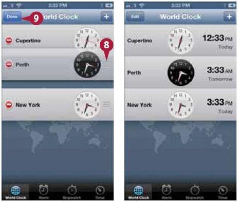 Нажмите значок рядом с часами и переместите их вверх или вниз по списку на нужное место