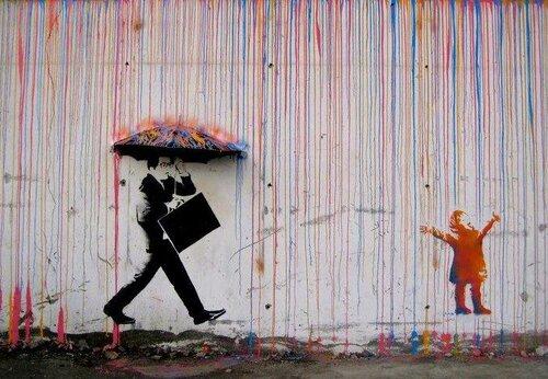 Уличное искусство в пейзажах улиц