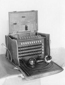 Внешний вид переносного телефонного коммутатора в чехле с индукторным вызовом.