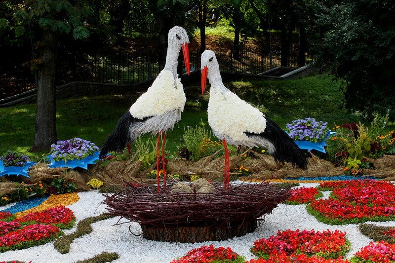 цветочная инсталляция аисты киев выставка