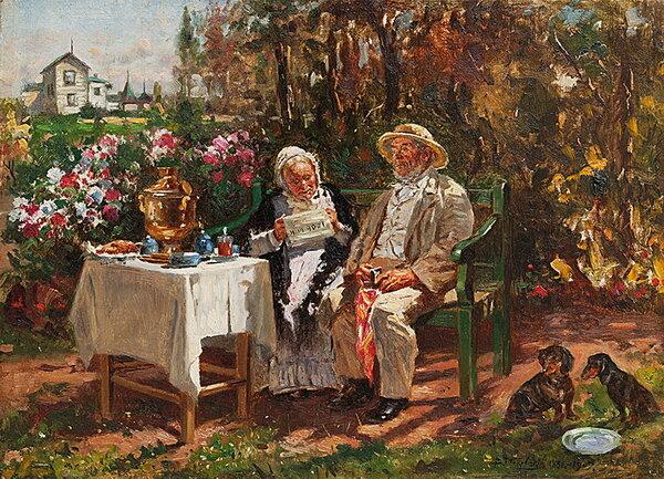 Маковский Владимир Егорович (1846–1920) Чаепитие. Старички