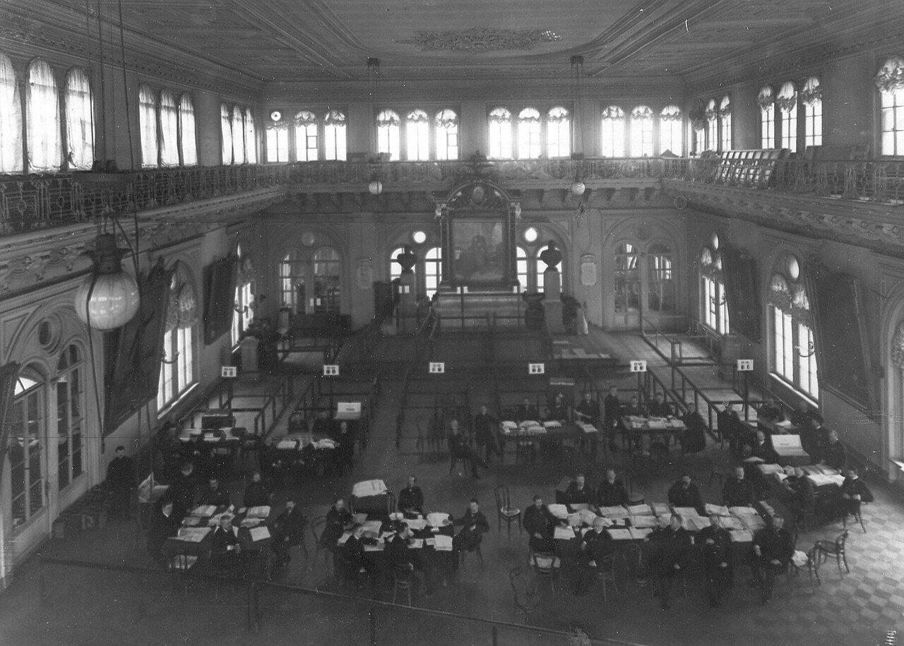 20 марта 1906. Подсчет голосов по выборам выборщиков в Первую Государственную думу в зале Городской думы