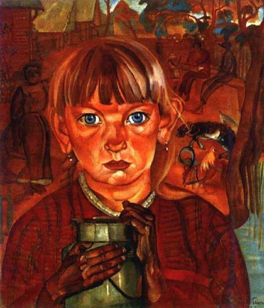 Григорьев Борис Дмитриевич. Девочка с бидоном. Из цикла «Расея». 1917г.