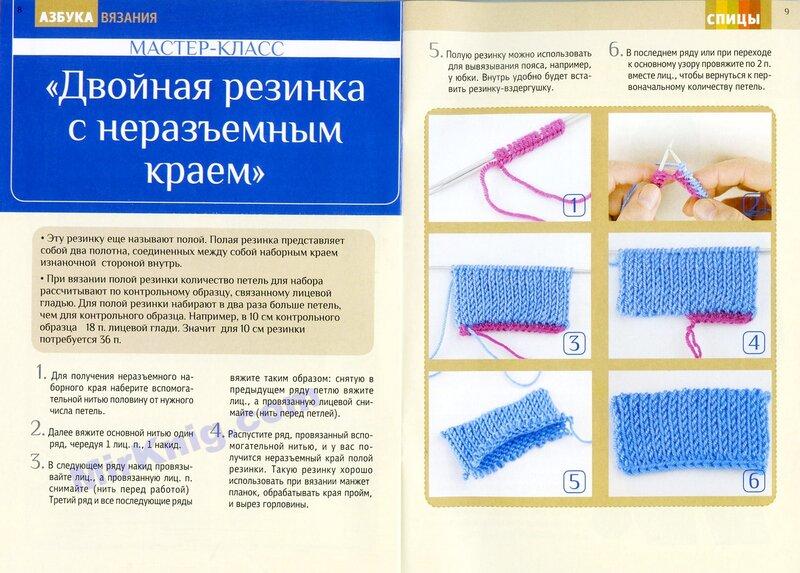 Схема вязания на спицах двойной резинки спицами