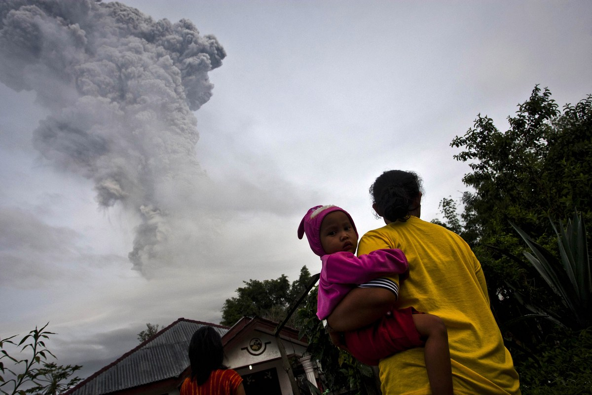 Mount Sinabung Erupts Again In Indonesia
