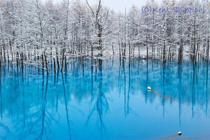 Живописное место - Синий пруд в Японии