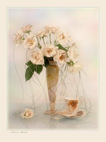 В изящной вазе букет белых роз открытка поздравление картинка