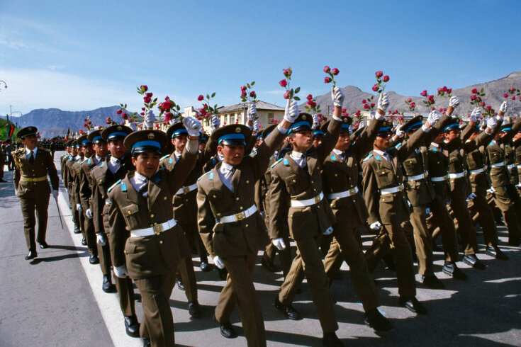 April, 1989 Afghan military cadets march in Kabul during celebration of the Saur Revolution, the Afghan Communist Party's takeover of political power in April, 1978.