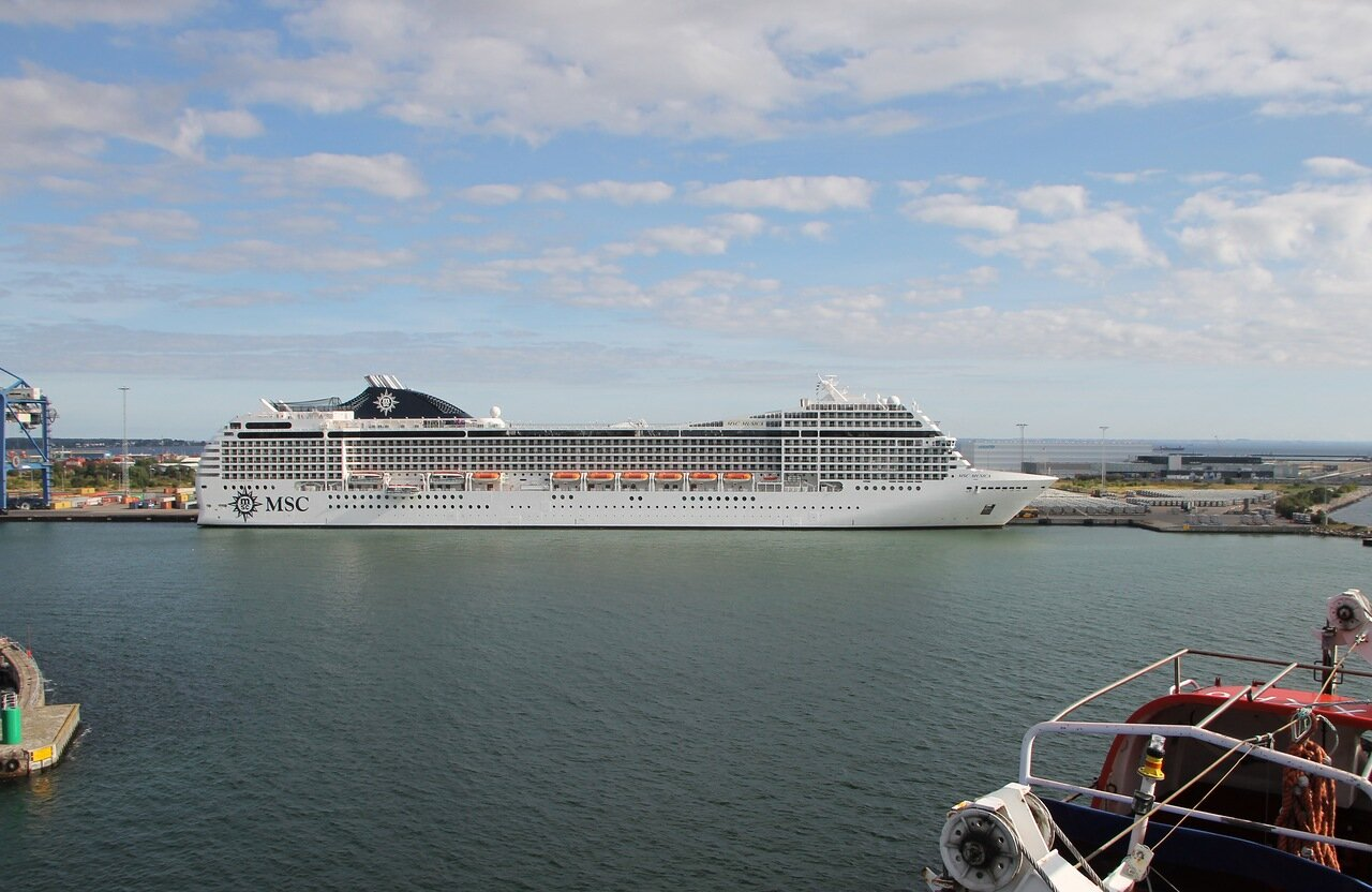 the port of Copenhagen, MSC Musica. Port Copenhagen,