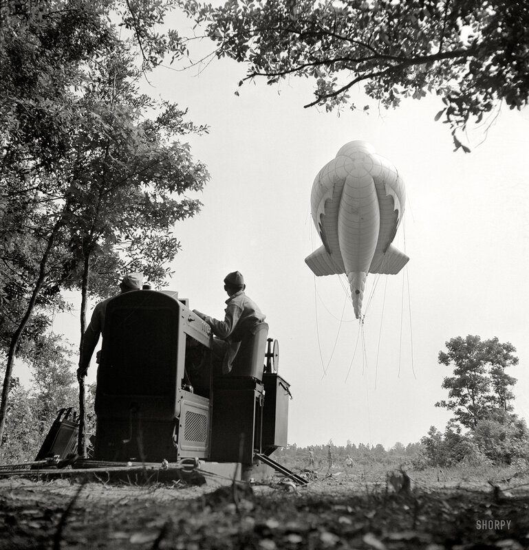 May 1942. Parris Island, South Carolina. Tactical formations of barrage balloons prevent dive bombing and the strafing of important ground installations