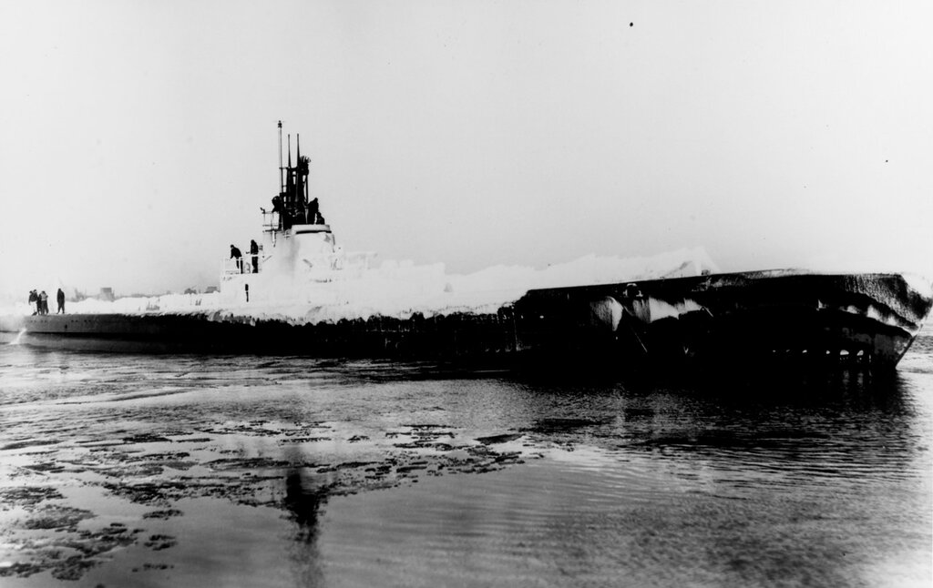 USS HAMMERHEAD (SS-364) At Manitowoc, Wisconsin, covered in ice during trials, circa February 1944