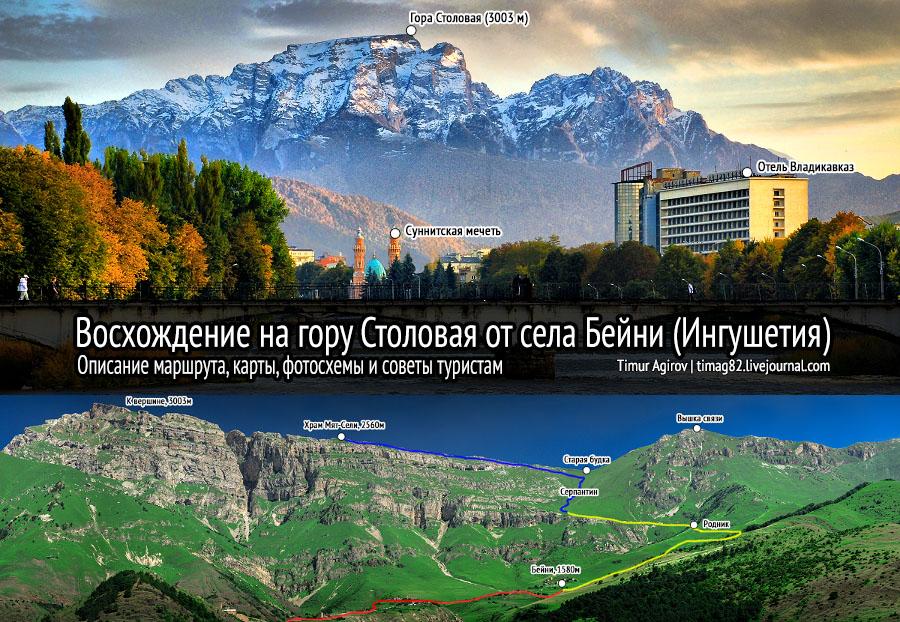 Столовая гора Владикавказ маршрут схема