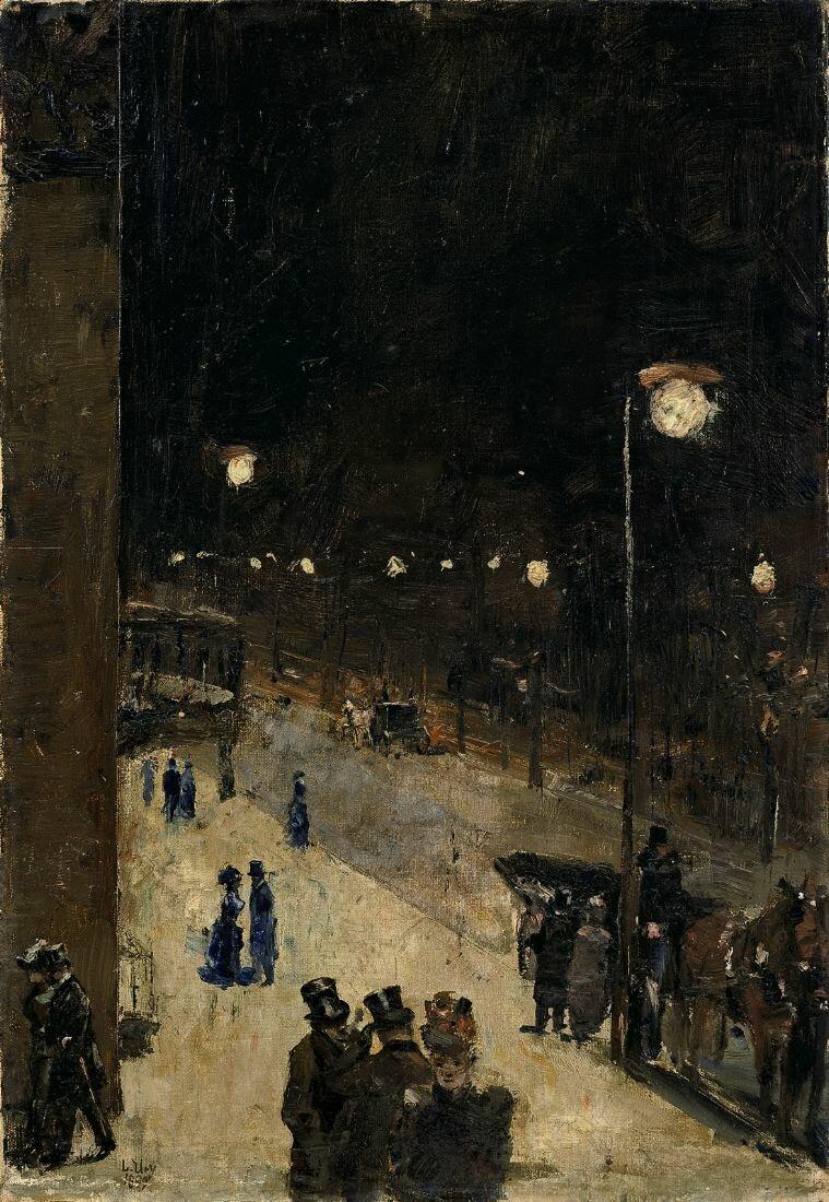 Берлинская улица ночью, 1889, Лессер Ури (1861-1931), пастель на картоне