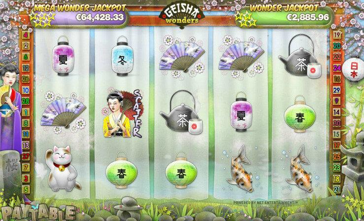 Интерфейс виртуального слота Geisha Wonders