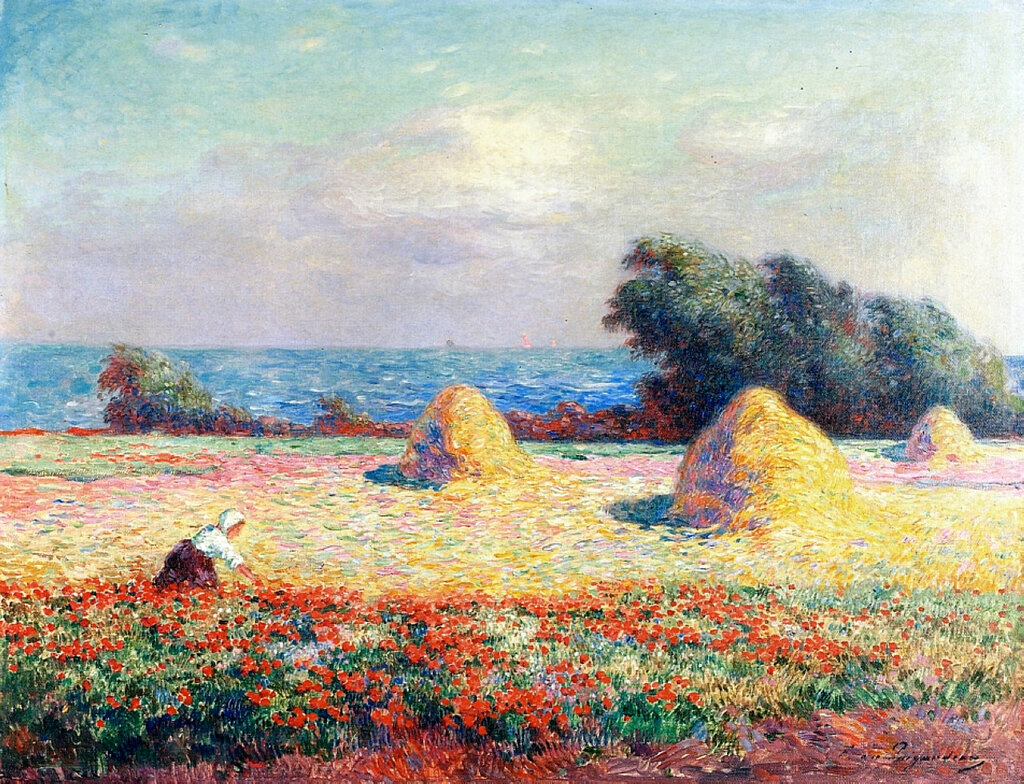 Ferdinand du Puigaudeau - Stacks of Hay and Field of Poppies.jpeg