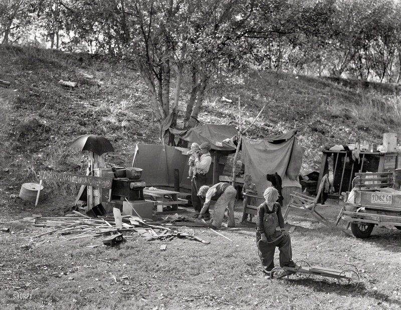 November 1936. Destitute family. American River camp near Sacramento, Calif. Five children aged 2 to 17