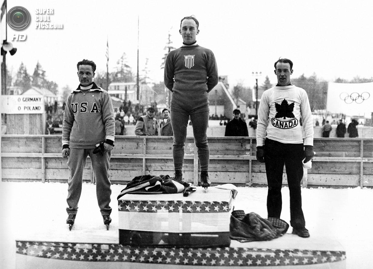 США. Лейк-Плэсид, Нью-Йорк. 4 февраля 1932 года. Призёры соревнований по скоростному бегу на коньках