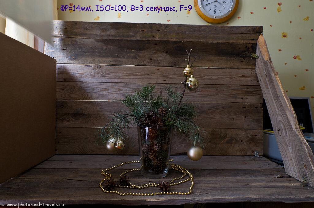 А так снимает камера Nikon D5100, если установить на неё широкоугольный фикс Samyang 14/2.8. Новогодний натюрморт в домашних условиях.