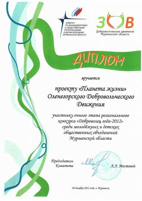 Награды Ооленегорского добровольческого движения