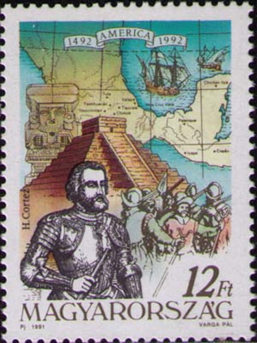 Портрет Эрнана Кортеса, пирамида ацтеков и карта Мексики..jpg