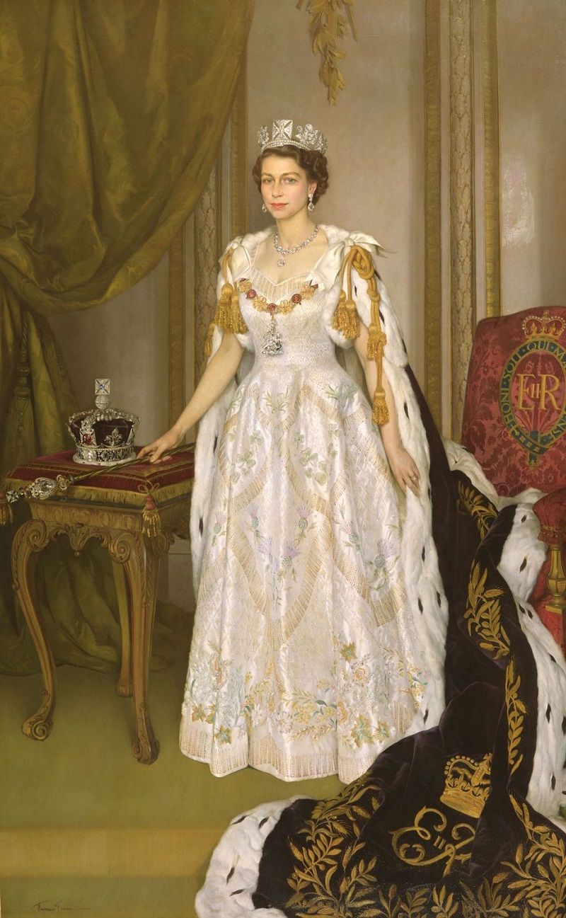 Queen Elizabeth II in Coronation Robes1953, (Sir Herbert James Gunn)