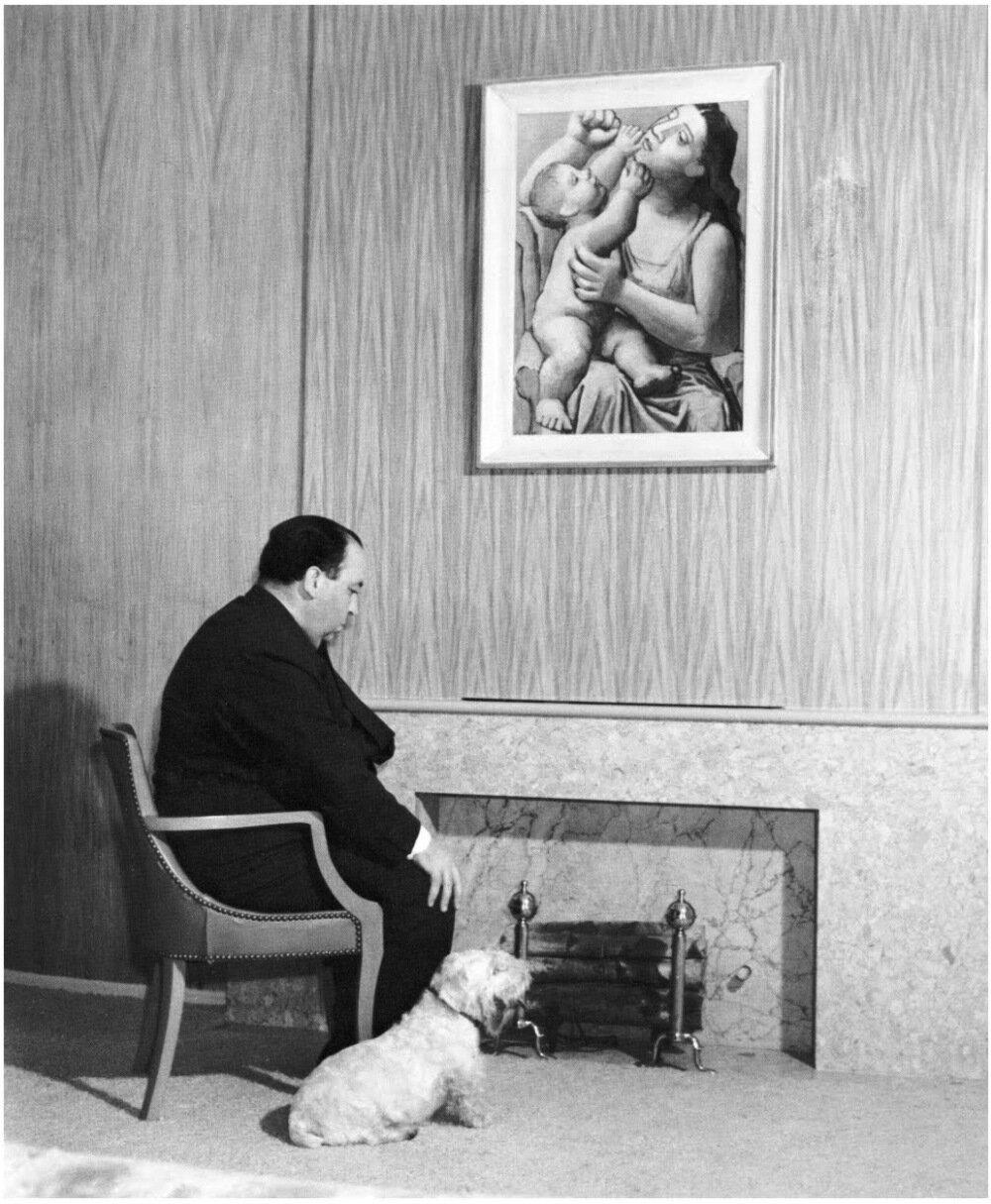 1939. Альфред Хичкок со своим терьером Мистером Дженкинсом. Лос Анджелес