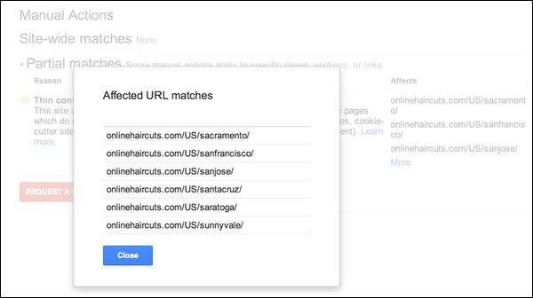 Новая функция в Google Webmaster Tools – Manual Actions viewer