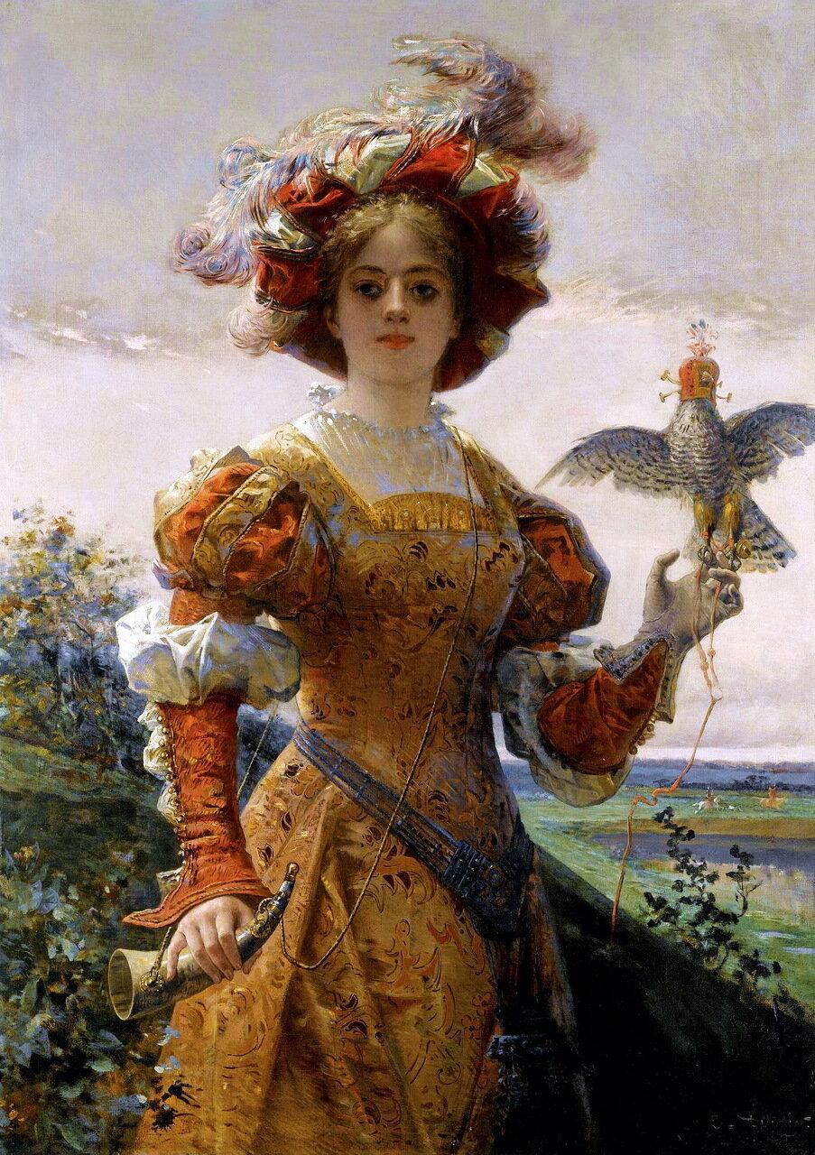 Edmond-Louis Dupain (FRENCH, 1847-1933) - DAME AU FAUCON