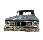 wrecked rusty car