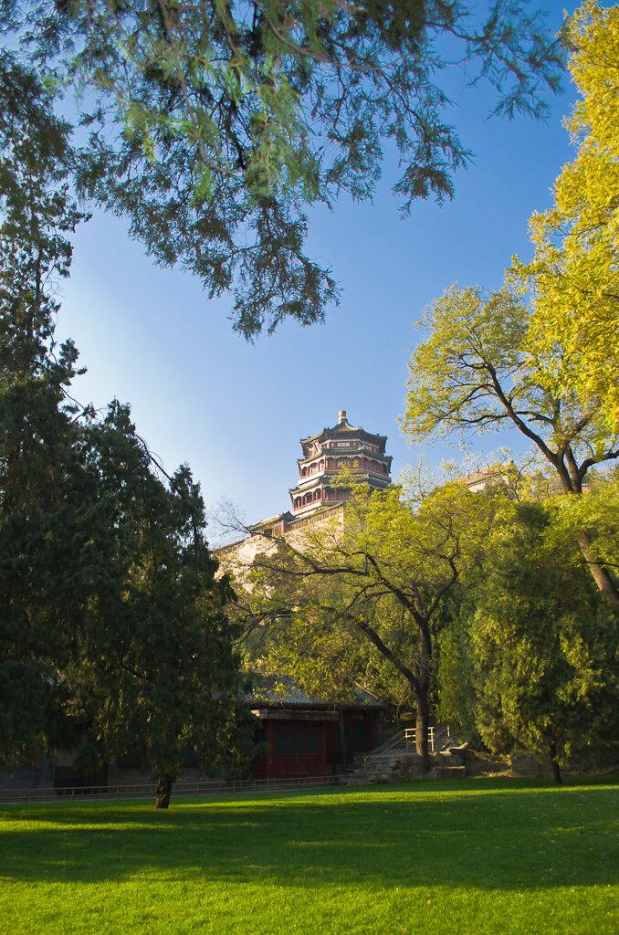 В парке - замечательные строения. Поездка в Пекин самостоятельно