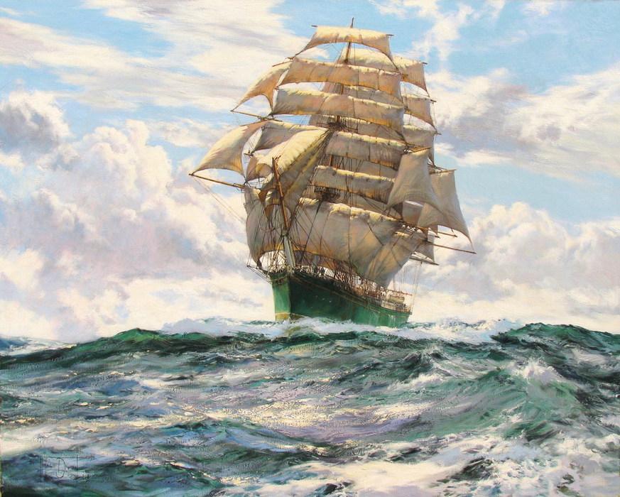 Вечных странствий, мыслей ветер, надувает паруса! Montague Dawson