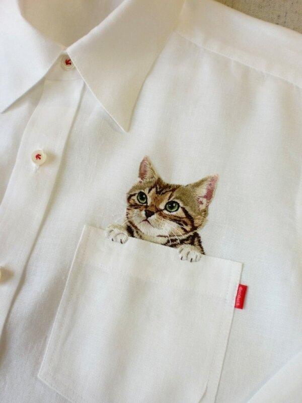 Вышивка на карман рубашки