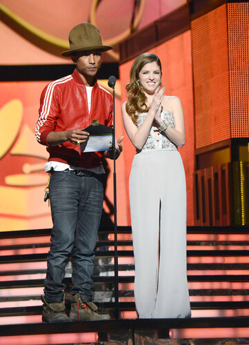 LOS ANGELES, CA - JANUARY 26: Musician Pharrell Williams (L) and actress Anna Kendrick onstage during the 56th GRAMMY Awards at Staples Center on January 26, 2014 in Los Angeles, California. (Photo by Kevin Mazur/WireImage)