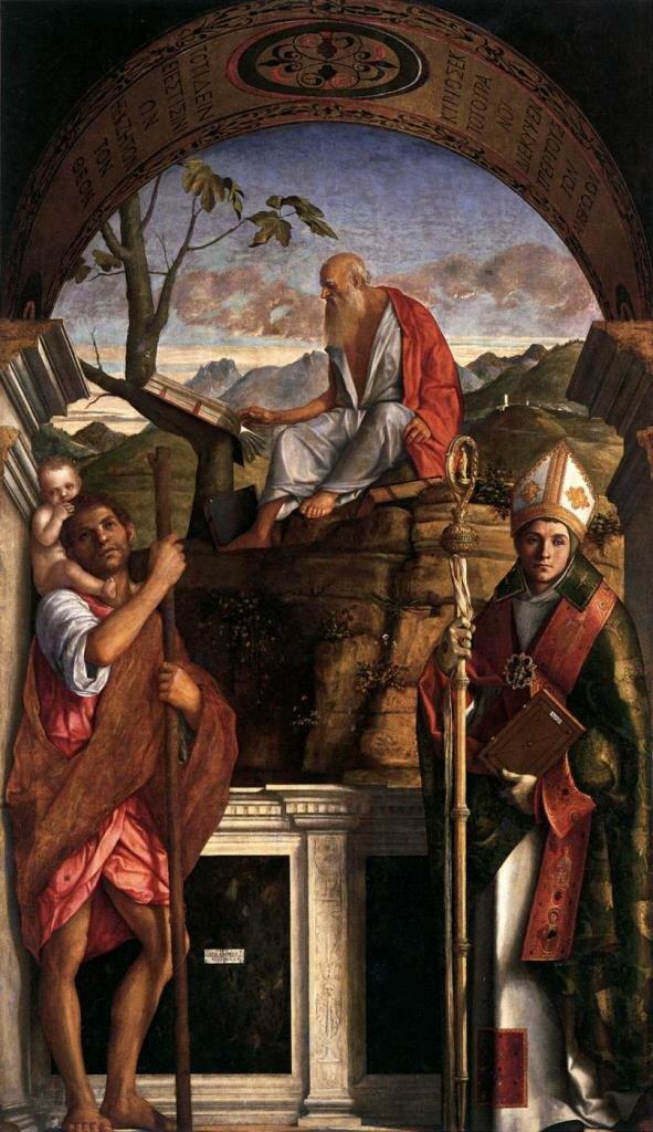 Святые Христофор, Иероним и Людовик Тулузский _1513_ Беллини Джованни.(ок. 1430-1516)