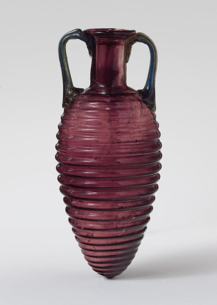 Roman, Glass amphoriskos with horizontal ribs, 2nd half of the 1st century.jpg