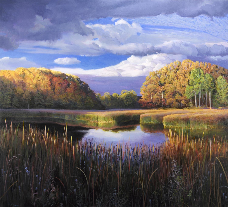 Водно-болотное угодье в районе Кенсингтон Metropark, Milford, штат Мичиган